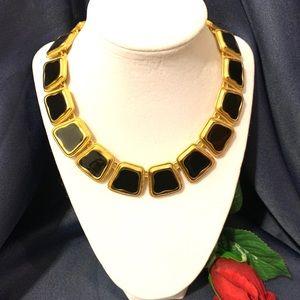 Anne Klein Black Enamel Gold Necklace
